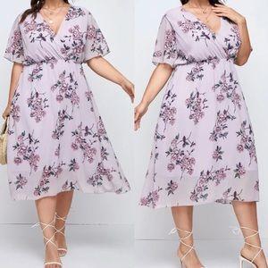 Plus floral print A line dress lilac purple